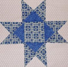 24 Ohio Star Quilt Blocks Kit - Blue Flowers - OOP Floral Fabric Quilting Sewing