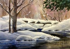 Winter Bridge 12in X 16 in on Arches 140lb cold pressed paper For Sale at Gallery 33 33 S. Cumberland St. Thunder Bay , ON
