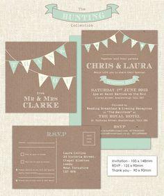 Downloadable Bunting Wedding Stationery set by RankidoodleWeddings, £25.00