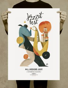 "poster for Jazz Festival ""Jazzit Fest"" September 2013 Collescipoli - Umbria (Italy) Graphic Design Posters, Graphic Design Typography, Graphic Design Illustration, Graphic Design Inspiration, Graphic Art, Illustration Art, Vintage Graphic, Poster Designs, Poster Jazz"