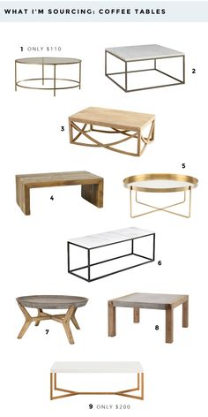 A collection of coffee tables that I am currently sourcing for clients. I am loving marble topped coffee tables, while the brass coffee table trend is still going strong.