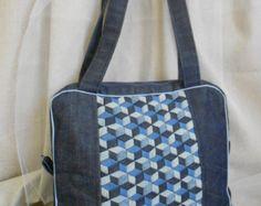 Denim Bag-Blue Bag-Patchwork Bag-Quilt Bag-Recycled Jeans-Handmade Bag-Woman Bag