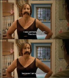 Miranda Hart. In spanks and a mistache, opens the door to mike. Hahaha too funny
