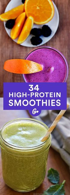 15 Super Healthy Smoothie Recipes To Start Your Day - Juicing and Smoothies High Protein Smoothies, Protein Smoothie Recipes, High Protein Recipes, Protein Snacks, Breakfast Smoothies, Smoothies For Weight Gain, Fruit Smoothies, Pineapple Smoothies, Diabetic Smoothies
