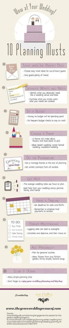 Wedding Planning Must Haves / http://www.deerpearlflowers.com/wedding-planning-infographics/