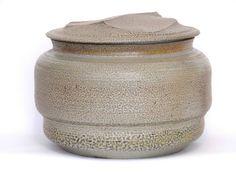 KAREN KARNES:  Large Landscape Cut Lidded Jar, Mint, black mountain college