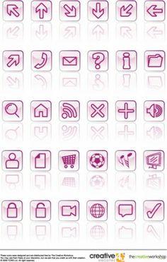 Iconos vidriosos vectorial