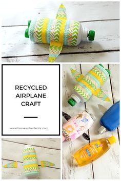 Housewife Eclectic: Recycled Airplane Crafts from household objects. Perfect way to teach your kids to recycle just in time for Earth Day.  #CareToRecycle #CG