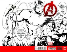Avengers Blank Cover - Black Widow, The Wasp & Hulk by Guillomcool