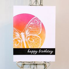 Today, I have a card to share that I made for     CAS(E) This Sketch #242 designed by me :        Here's my card:               I started b... Happy Birthday Card Design, Handmade Birthday Cards, Happy Birthday Cards, Handmade Cards, Simple Butterfly, Butterfly Cards, Colorful Backgrounds, Card Sketches, Creative Cards