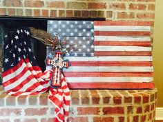 American Flag Pallet Sign and wreath