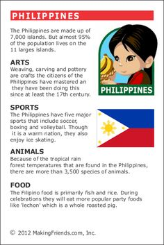 MakingFriends Facts about Philippines Printable Thinking Day fact card for our passports. Perfect if you chose Philippines for your Girl Scout Thinking Day or International Night celebration.