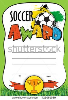 vector template certificate soccer championship. child diploma to be awarded to the winners, players, the best goalkeeper or the coach at a football match.