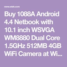 Buy 1088A Android 4.4 Netbook with 10.1 inch WSVGA WM8880 Dual Core 1.5GHz 512MB 4GB WiFi Camera at Wish - Shopping Made Fun Android 4, Sd Card, Wifi, Computers, Core, Usb, Shopping