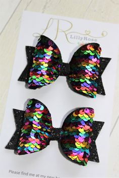 Reversible Sequin Hair Bows -Rainbow to Gold