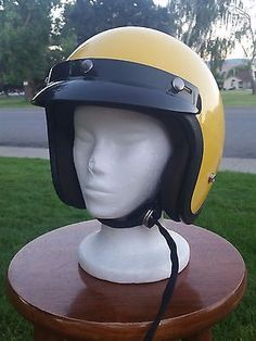 Vintage DUNS Canary Yellow Motorcycle Scooter Racer Racing Open Face Helmet