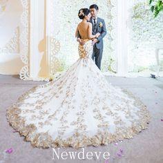 Luxury Gold Appliques Lace Wedding Dress Mermaid Sleeveless Bridal Gowns Custom