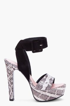 BARBARA BUI Black Suede and Python Heels |=