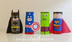 What a roll of Superheroes - Whispers and other silent things Toilet Roll Craft, Toilet Paper Roll Crafts, Paper Crafts For Kids, Projects For Kids, Diy For Kids, Art Projects, Arts And Crafts, Toddler Crafts, Preschool Crafts