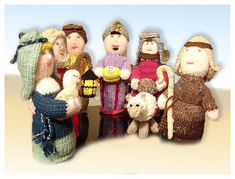 Knitted 7-piece Nativity Scene knitting pattern can be found at Etsy shop called YarnPassionDesigns