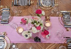 pink florals and linens and black and white striped napkins // Photography: Life in Balance / Event Designer & Coordinator: Jesi Haack Unique Weddings, Real Weddings, Themed Weddings, Striped Wedding, Pink And White Flowers, Roller Derby, Event Design, Wedding Designs, Party Planning