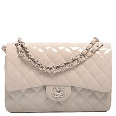 Chanel Light Beige Quilted Patent Jumbo Double Flap Bag |... ($6,250) ❤ liked on Polyvore featuring bags, handbags, chanel purses, chanel bags, patent leather handbags, beige handbags and patent leather purse