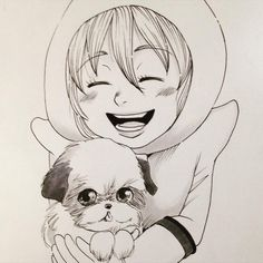 Happy friends n.09  #inktober #inktober2015 #art #original #fashion #futuristic #copic #イラスト #illustration #girl #dog #shihtzu #puppy