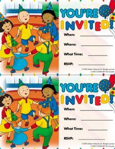 Caillou Party Invitation – Caillou Coloring Pages for Kids