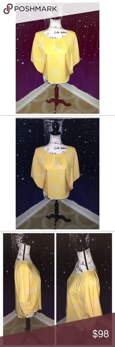 🐤🍂Lemon Feather Janine Top🐤🍂 Karen Zambos Lemon Feather Janine top in size small. Loose fitting top with bat wing sleeves. Made in the US. Karen Zambos Tops