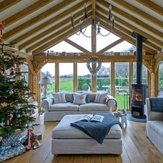 Oxfordshire-barn-conversion-Scandi-elegance-garden-room The elegant interiors of this beautiful rustic barn are the epitome of Christmas chic, with roaring fires, flickering candles and plush reindeer skins Barn House Conversion, Barn Conversion Interiors, Barn Conversions, Bungalow Conversion, Garden Room Extensions, House Extensions, Oak Framed Extensions, Oak Frame House, House Extension Design