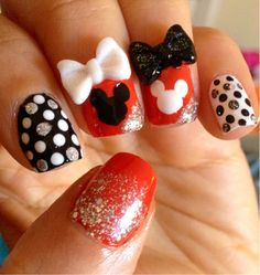 By Tish Batey. China Glaze Rougish Red for Minnie Mouse nails! Cute Kids Nails, Nails For Kids, Mickey Nails, Minnie Mouse Nails, Mickey Mouse, Fabulous Nails, Gorgeous Nails, Hair And Nails, My Nails