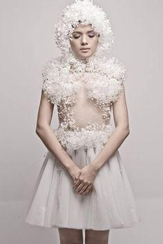 Sculptural Fashion with delicate white embellishment; wearable art // Rocky Gathercole Atelier:
