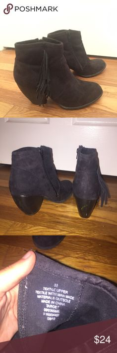 🍁Black Suede  booties🍁 Worn a handful of times Very sturdy and easy to walk in with a chunky heel and zipper closure. Scuff marks as shown on heels as well as a barely noticeable tear in the suede on the back right above the heel Mossimo Supply Co Shoes Ankle Boots & Booties