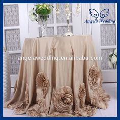 CL052A Fancy elegant round ruffled flower fancy wedding champagne taffeta tablecloths for cake table, View champagne tablecloths for cake table, Angela Wedding Product Details from Suzhou Angela Wedding Co., Ltd. on Alibaba.com