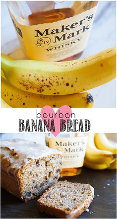 Banana Bread bourbon banana bread with buttered pecans and a boozy glaze Flours Banana Bread, Banana Bread Recipes, Fruit Bread, Baking Recipes, Dessert Recipes, Bourbon Recipes, Beer Recipes, Crockpot Recipes, Pecan Desserts