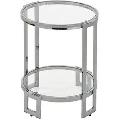 This striking side table's combination of crisp, geometric lines, sleek glass and chrome finish will instill a look of glamour into your space. Despite its ethereal appearance this piece is built to last - constructed of sturdy steel and tempered glass, a Metal End Tables, Side Tables, Geometric Lines, Chrome Finish, Contemporary Style, Accent Chairs, Glass, Furniture, Ivy