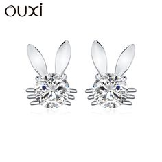 OUXI Fashion Women Earrings Four Prong Setting CZ Crystal White Gold Color Color Cute Animal Shaped Jewelry for Women