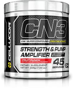 CN3 is a pre-workout supplement that features Creatine Nitrate—a super compound formed when Creatine is bonded with Nitrate. Creatine Nitrate produces two desirable effects on performance: Creatine for strength and Nitrate for pumps. Previously, you would have to stack Nitric Oxide supplements with Creatine to achieve the desired effects. Now, you get both in one powerful ingredient.*