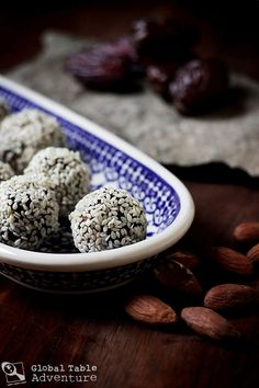How to make Almond Stuffed Date Balls, a middle eastern treat we made for Yemen. Ridiculously easy!