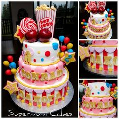 Carnival Cake inspiration for a birthday or bat mitzvah party Carnival Birthday Cakes, Carnival Cakes, Circus Cakes, Carnival Themed Party, Circus Party, Circus Wedding, Carnival Costumes, Invitation Fete, Cake Creations