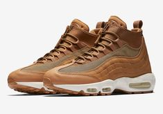 Nike Air Max 95 Sneakerboot Wheat Flax 806809-201 a Mens Nike Air, Nike Men, Nike Air Max, Air Max 95, Retro Shoes, Air Max Sneakers, High Top Sneakers, Sneakers Nike, Men's Boots