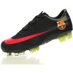 This is a beautiful, black, red trainer to play football soccer.Her name is SALE NIKE MERCURIAL VAPOR VII SUPERFLY III FG SOCCER CLEATS 2012 BARCELONA. Has a red dove. It has a price of eight hundred and fifty pesos