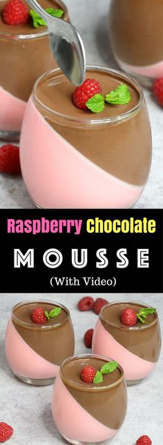 Raspberry And Chocolate Mousse – looks so elegant with two layers and tastes so delicious that you won't believe how easy it is to make! Creamy, rich and smooth dessert topped with fresh raspberry and mint. All you need is some simple ingredients: raspberry jello, whipped cream, gelatin, heavy cream, sugar and chocolate. Wow your guest with this refreshing dessert at your next party! No bake dessert. Video recipe. | Tipbuzz.com