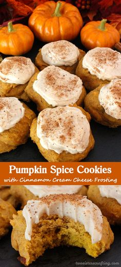 Pumpkin Spice Cookies with Cinnamon Cream Cheese Frosting are the perfect Fall Cookies and a wonderful choice for a Christmas Cookie Exchange. This cookie tastes just like Pumpkin Pie which makes it a great Thanksgiving Dessert idea. And with the deliciou Pumpkin Spice Cookies, Fall Cookies, Yummy Cookies, Cinnamon Cookies, Pumkin Cookies Recipes, Healthy Pumpkin Cookies, Fall Cookie Recipes, Halloween Cookie Recipes, Cookies Vegan