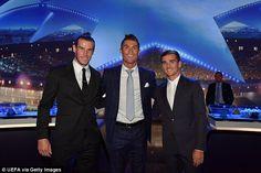 Gareth Bale, Cristiano Ronaldo and Antoine Griezmann smile for the cameras