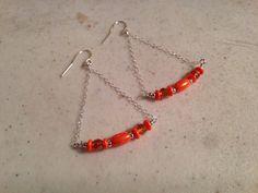 Orange Earrings  Sterling Silver Jewelry  Beaded by cdjali on Etsy