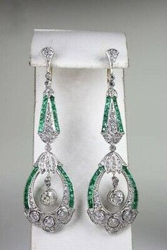 Madlen Pave Jewelry Set-Bridesmaid gifts-Maid of Honor gifts-Bridal accessories-Prom gifts-Wedding party gifts-Bridal party - Custom Jewelry Ideas Bijoux Art Deco, Art Nouveau Jewelry, Art Deco Earrings, Emerald Jewelry, Emerald Earrings, Drop Earrings, Art Deco Wedding, Art Deco Diamond, Bridal Accessories