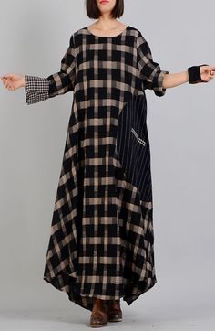 Elegant cotton quilting clothes 2019 patchwork Work black Plaid Plus Size o neck Clothing Dress