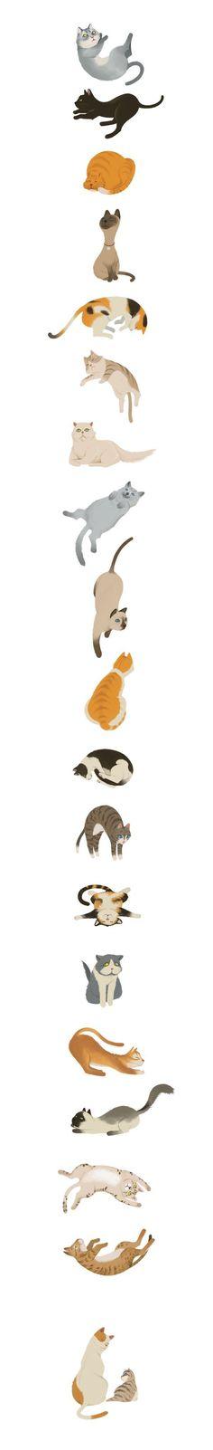 Cats by Wonho Jung, via Behance #CatArt