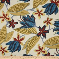 Robert Allen Indoor/Outdoor Baja Botany Parchment from @fabricdotcom  From Robert Allen, this great indoor/outdoor fabric is stain and water resistant, perfect for outdoor settings and indoors in sunny rooms as it is fade resistant to 500 hours of direct sun exposure. To maintain the life of the fabric bring indoors when not in use. Create decorative pillows, chair pads, table accents, cushions, deck chairs, slipcovers and upholstery. Colors include rust, yellow, indigo, medium blue, dusty…